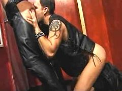 Fetish men in leather go naughty and cum on mirror