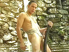 Hot stud shaving and masturbating outdoors in nature