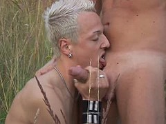 Sweet amateur twinks learn to handle cocks outdoor
