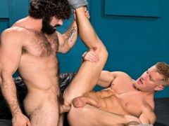 Johnny V is a blond musclebound bottom hunk who can't wait to get fucked. Jaxton Wheeler is a hairy mountain of a man with a thick cock that make