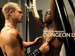 In the dungeon, no one is safe from the wrath of Caleb King.  This time, JP Richards is on the receiving end.  Blindfolded and bound, JP doesn't know what or who will be doling out training today, but he knows he'll likely have to deal with a seriously
