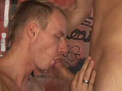 Twink sucking older dissolute friend and gets jizz