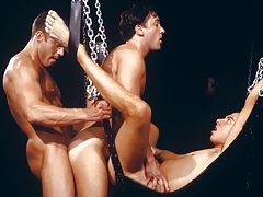 three perspired men enraptured in a tight, satisfying daisy-chain!