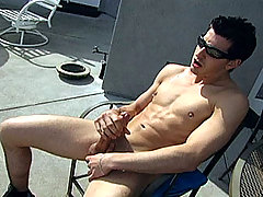 Jonny decides to get fresh air and strokes his dick outside.