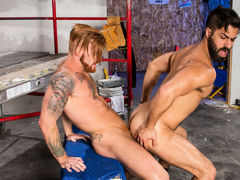 Hairy, ripped Adam Ramzi and buff ginger Bennett Anthony are on their lunch break, but the meat they want is between their legs! Bennett feeds his rock massive cock to Adam's willing mouth. Adam teases the tip with his tongue, then slides all the way down