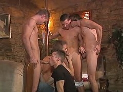 Amateur twink in fuck n blow orgy with older dudes