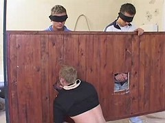 Gang of young gays have group oral fun in the barn
