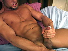 He strokes himself hard to a very satisfying, creamy orgasm!