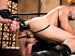 Slim dark haired pup, Mike De Marko is lead straight to his master Dallas Steele's weenie by leash. Mike attempts to give Dallas a sloppy hummer but keeps gagging on his hefty length so Dallas turns Mike over and shoves his weenie in his pup's unshaved ho